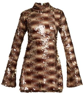 Halpern Sequin-embellished High-neck Flared-sleeve Dress - Animal