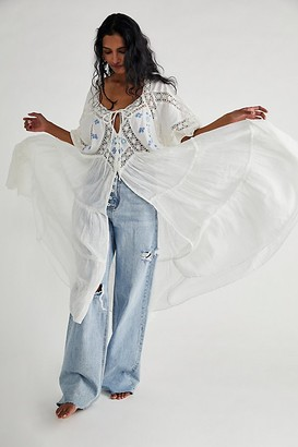Free People Delilah Embroidered Maxi Top