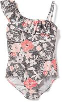 Old Navy Ruffle-Trim One-Shoulder Swimsuit for Girls