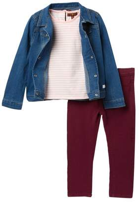 7 For All Mankind All Kinds Denim Jacket, Shirt & Leggings Set (Toddler Girls)