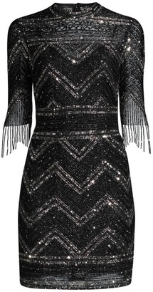Aidan Mattox Fully Beaded Cocktail Dress