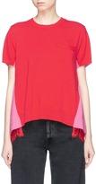 Sacai Lace underlay colourblock wool-cotton sweatshirt