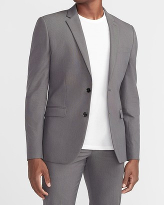 Express Extra Slim Charcoal Textured Cotton-Blend Suit Jacket