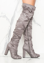 Missy Empire Ivana Grey Strap Detailing Over The Knee Heeled Boots