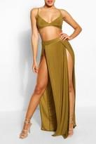 boohoo Paige Slinky Bralet & Split Maxi Skirt Co-ord