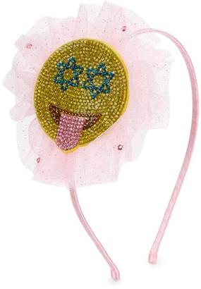 Bari Lynn Crystal Tulle Emoji Satin Headband