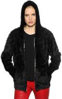 RtA Furry Knit Zip-Up Sweater