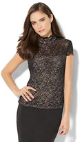 New York & Co. Scalloped Lace-Overlay Top