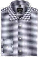 Barneys New York Men's Gingham Poplin Shirt-BLUE