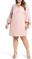 Eliza J Plus Size Women's Bell Sleeve Crepe Shift Dress