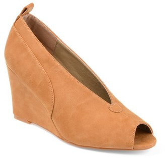 Brinley Co. Womens Faux Leather Peep-toe Deep V-cut Wedges
