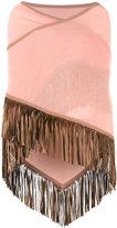 Antonia Zander fringed trim cape - women - Leather/Cashmere - One Size