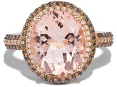 Effy Jewelry Effy Gemma 14K Rose Gold Morganite, Cognac and White Diamond Ring, 4.35 TCW