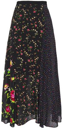 McQ Paneled Floral-print Crepe De Chine Midi Skirt