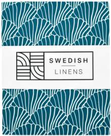 Swedish Linens - Single Bed Blue Organic Cotton Seashells Moroccan Print Fitted Sheet - organic cotton   blue   single - Blue/Blue