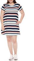 Arizona Short Sleeve Swing Dresses-Juniors Plus