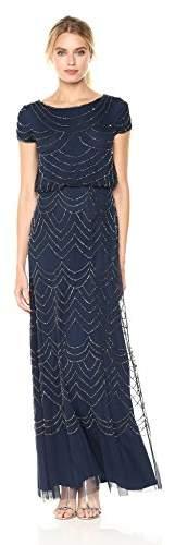 Adrianna Papell Women's Short Sleeve Blouson Beaded Gown,8