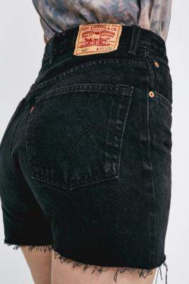 Urban Renewal Vintage Re-Made From Vintage Levi's Black Denim Shorts - black S at Urban Outfitters