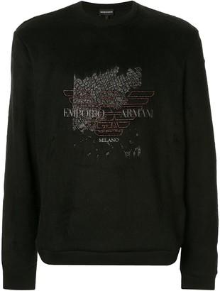 Emporio Armani embroidered eagle logo sweatshirt