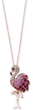 Effy Safari by Multi-Gemstone (5/8 ct. t.w.) & Diamond Accent Flamingo Pendant Necklace in 14k Rose Gold