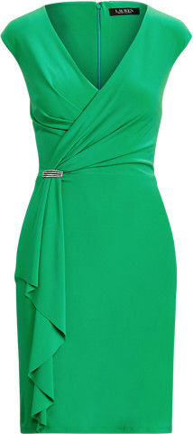 Thumbnail for your product : Ralph Lauren Ruffle-Trim Jersey Cocktail Dress