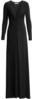 Halston V-Neck Ruched Jersey Gown