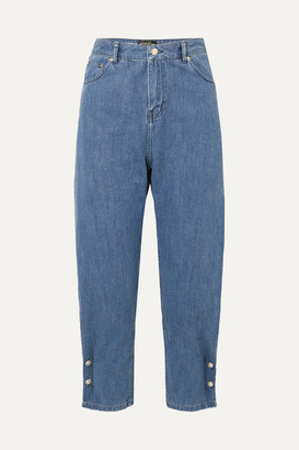 Mother of Pearl Net Sustain Kyra Faux Pearl-embellished High-rise Tapered Jeans - Mid denim