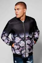 boohoo Quilted Ombre Rose Print Bomber Jacket