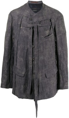 Ziggy Chen Frayed Button-Up Jacket