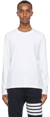 Thom Browne White Relaxed Fit Long Sleeve T-Shirt