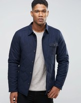 Esprit Wool Shirt Jacket With Quilted Lining And Flecked Pocket