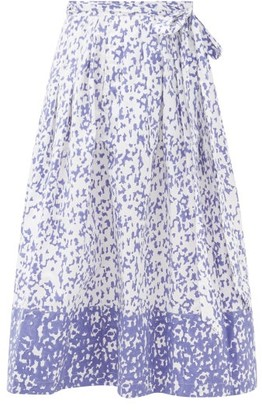 Thierry Colson Java Abstract-print Cotton Wrap Skirt - Womens - Blue
