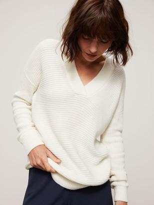 John Lewis & Partners Rib Trim Deep V-Neck Sweater