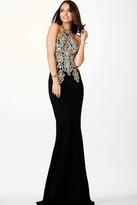 Jovani Halter Fitted Lace Black Dress JVN33691