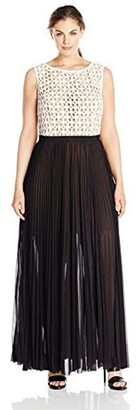 ABS by Allen Schwartz Women's Plus Size Sleeveless Gown with Lace Bodice