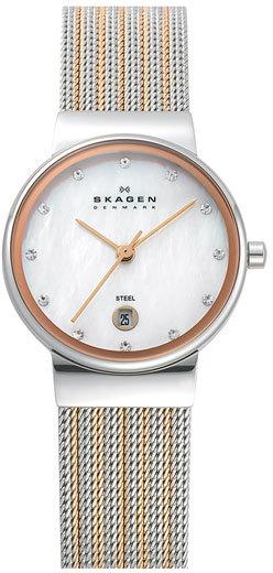 Skagen 'Ancher' Round Two-Tone Mesh Watch
