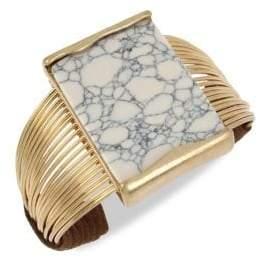 Robert Lee Morris Goldtone, White Howlite & Suede Wire Cuff Bracelet