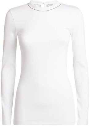 Brunello Cucinelli Contrasting Trim Long-Sleeved T-Shirt