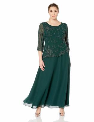 J Kara Women's Plus Size Scoop Neck Line Long Dress