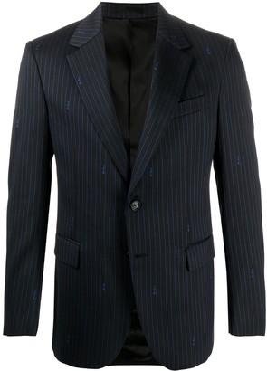 Versace Pinstripe Logo Blazer