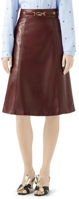Gucci French Plonge Leather A-Line Skirt