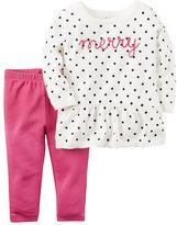 """Carter's Baby Girl Merry"""" Polka-Dot Sweater & Leggings Set"""