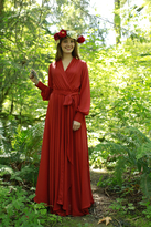 Shabby Apple Hickory Chiffon Maxi Dress Rust