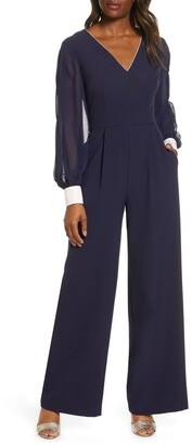 Harper Rose Long Sleeve Crepe & Georgette Jumpsuit