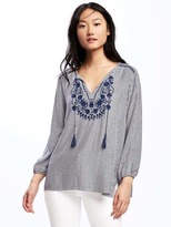Old Navy Relaxed Embroidered-Yoke Tunic for Women