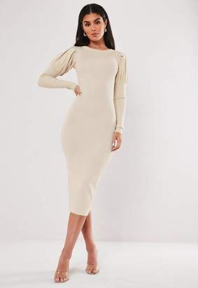 Missguided Puff Sleeve Knitted Midaxi Dress