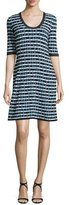 M Missoni Half-Sleeve Broken Zigzag Dress, Black