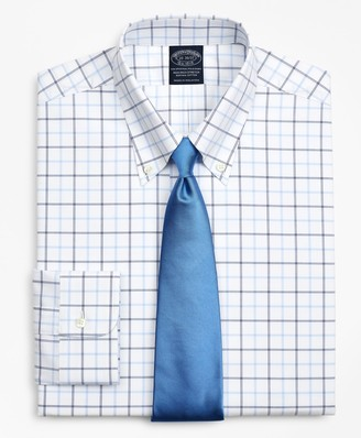 Brooks Brothers Stretch Big & Tall Dress Shirt, Non-Iron Poplin Button-Down Collar Double-Grid Check