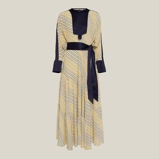 LAYEUR Neutral Keys Long Sleeve Tiered Ankle-Length Dress FR 40