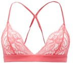 Fleur of England Camellia Chantilly-lace And Charmeuse Triangle Bra - Womens - Pink